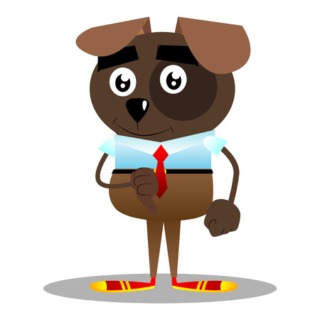 Cartoon illustrated business dog showing dislike hand sign.