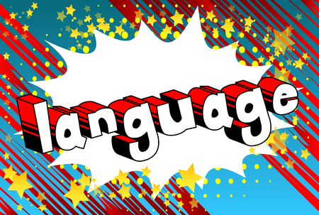 Language - Comic book word on abstract background. Banque d'images - 103947348