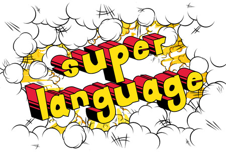 Super Language - Comic book word on abstract background. Banque d'images - 103947350