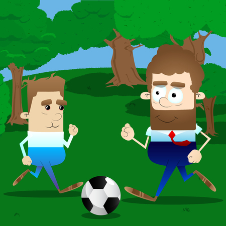 Active father play soccer in his leisure time with his son. Vector cartoon character illustration. Banque d'images - 103947351