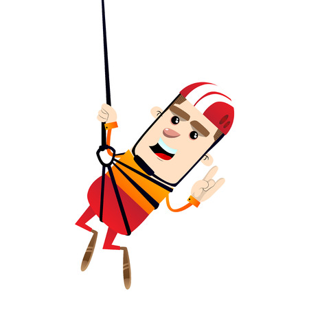 Boy ziplining. Vector cartoon character illustration. 向量圖像