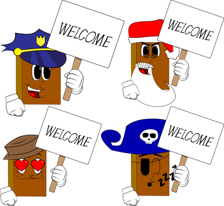 Books holding a banner with welcome text. Cartoon book collection with costume faces. Expressions vector set.