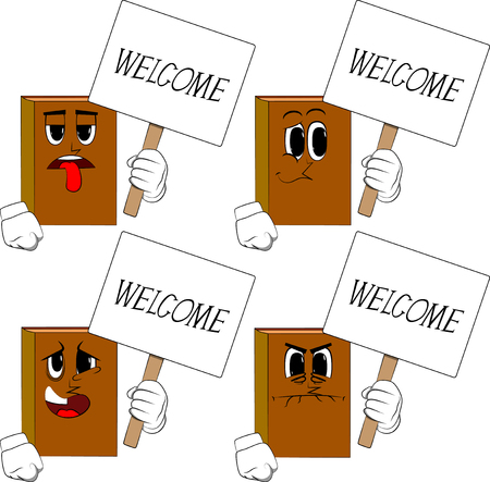 Books holding a banner with welcome text. Cartoon book collection with sad, bored and angry faces. Expressions vector set.