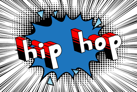 Hip Hop - Comic book word on abstract background. Stock Illustratie