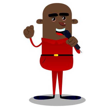 Handsome african american boy singing. Vector cartoon illustration. Ilustração