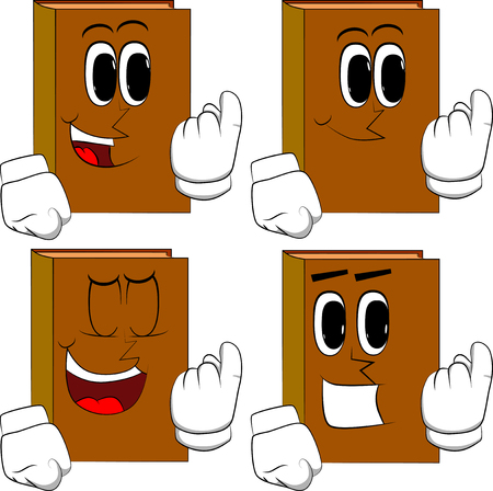 Books inviting to come there. Cartoon book collection with happy faces. Expressions vector set.  イラスト・ベクター素材