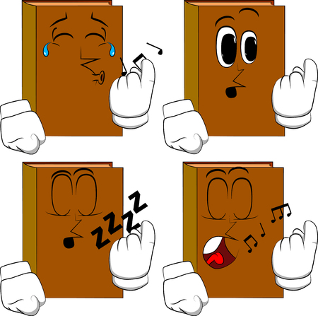 Books inviting to come there. Cartoon book collection with various faces. Expressions vector set.