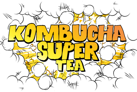 Kombucha Super Tea - Comic book word on abstract background.