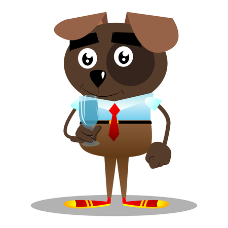 Cartoon illustrated business dog with a glass of water.