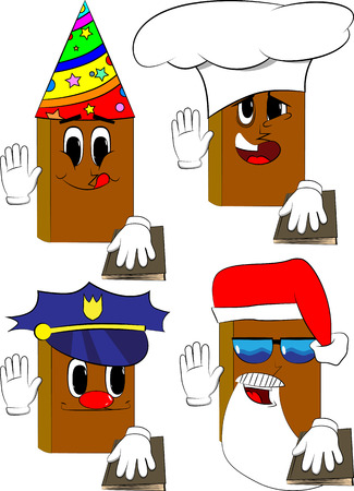 Books raising his hand and put the other on a holy book. Cartoon book collection with costume faces. Expressions vector set.