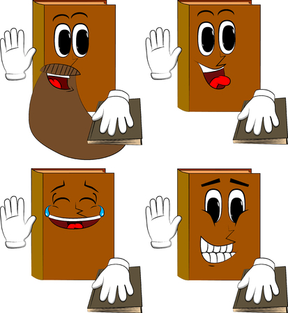 Books raising his hand and put the other on a holy book. Cartoon book collection with happy faces. Expressions vector set.