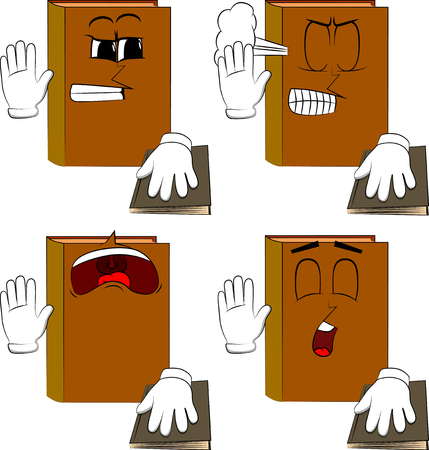 Books raising his hand and put the other on a holy book. Cartoon book collection with angry and sad faces. Expressions vector set.