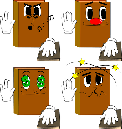 Books raising his hand and put the other on a holy book. Cartoon book collection with various faces. Expressions vector set. Standard-Bild - 104204077