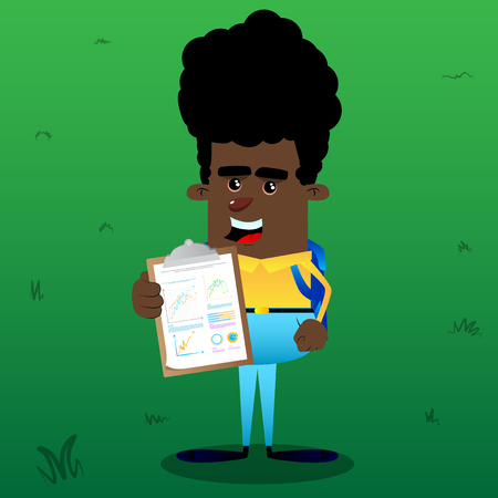 Schoolboy shows finance report. Vector cartoon character illustration. Çizim