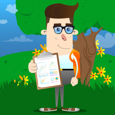 El colegial muestra el informe financiero. Ilustración de personaje de dibujos animados de vector. Foto de archivo - 104204079