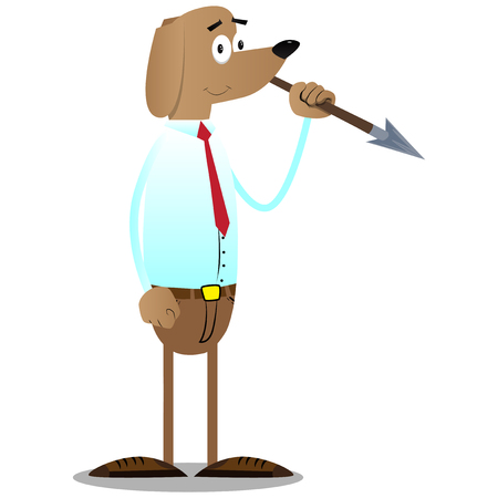 Cartoon illustrated business dog holding spear in his hand.
