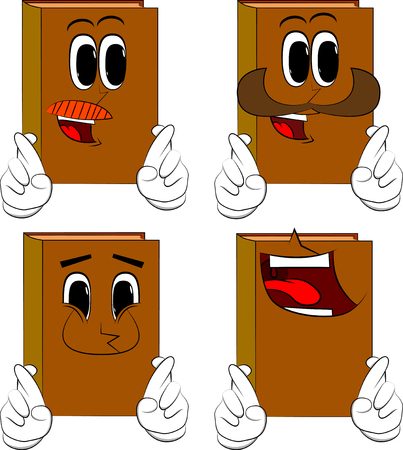 Books crossing his fingers and wishing for good luck. Cartoon book collection with happy faces. Expressions vector set.