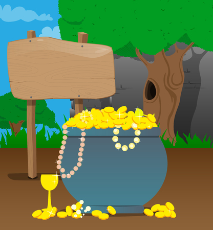 Vector of gold coins, treasure with medieval building on the background. Ilustração