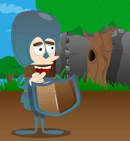 Brave knight in armor. Vector cartoon character illustration. Stock fotó - 104204183