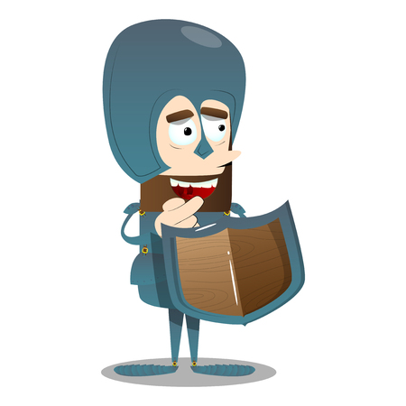 Brave knight in armor. Vector cartoon character illustration.