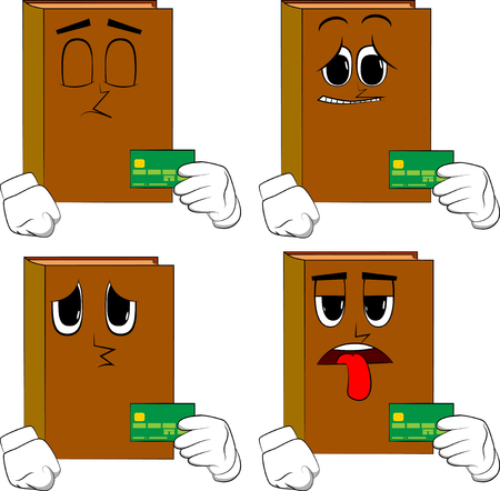 Books holding credit card. Cartoon book collection with sad faces. Expressions vector set. Иллюстрация