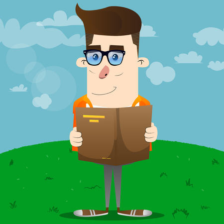 Schoolboy reading a book. Vector cartoon character illustration.