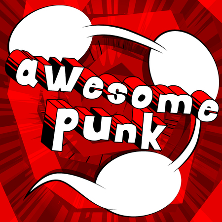 Awesome Punk - Comic book word on abstract background. 일러스트
