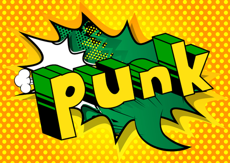 Punk - Comic book word on abstract background. Illustration