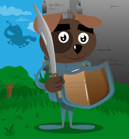 Cartoon illustrated brave dog knight in armor. Vector cartoon character illustration.
