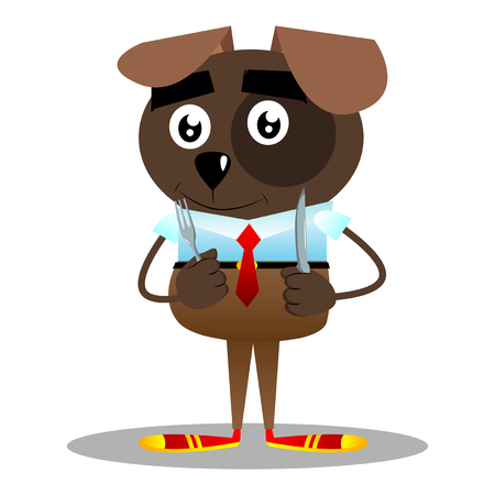 Cartoon illustrated business dog holding up a knife and fork.