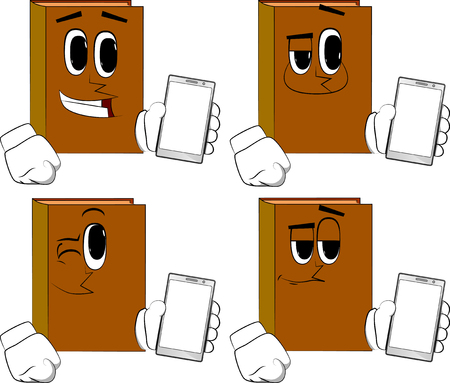 Books holding smartphone with blank white screen. Cartoon book collection with happy faces. Expressions vector set. 向量圖像