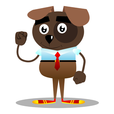 Cartoon illustrated business dog making power to the people fist gesture. Illustration