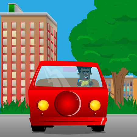 Schoolboy driving. Vector cartoon character illustration. Illustration