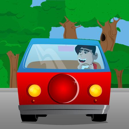 Schoolboy driving. Vector cartoon character illustration. Illustration