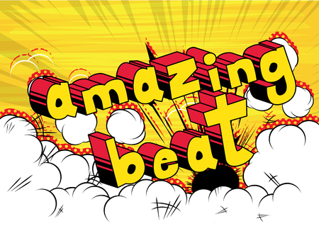 Amazing Beat - Comic book word on abstract background. Stock Illustratie