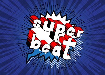 Super Beat - Comic book word on abstract background. Illustration