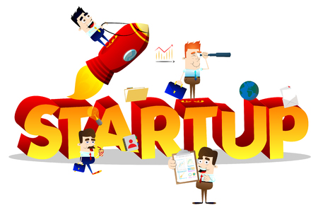 Cartoon little business people with word StartUp. Miniature scene of businessmen on white background.