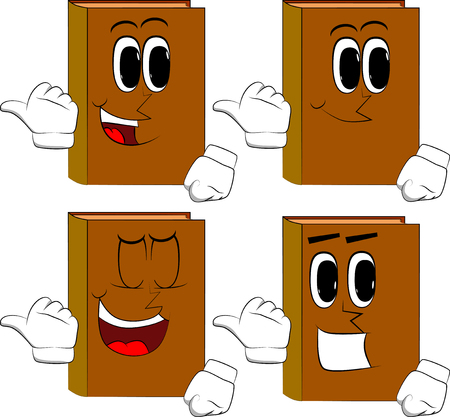 Books with pointing hand behind his back. Cartoon book collection with happy faces. Expressions vector set.