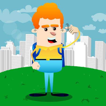 Schoolboy shows a youre nuts gesture by twisting his finger around his temple. Vector cartoon character illustration. Illustration