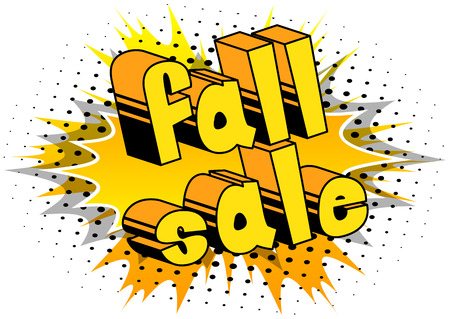 Fall Sale - Comic book style word on abstract background.