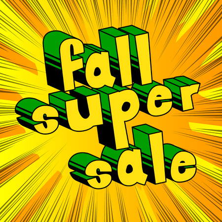 Fall Super Sale - Comic book style word on abstract background. Illusztráció