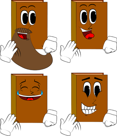 Books cooling himself with his hand. Cartoon book collection with happy faces. Expressions vector set. Illustration