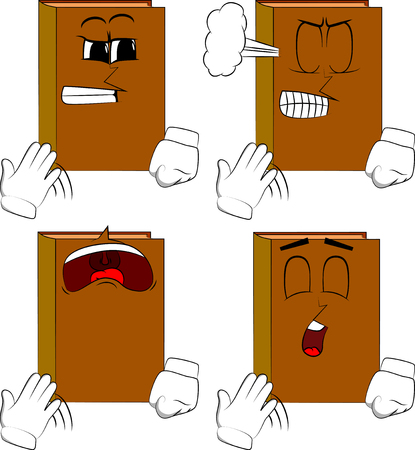 Books cooling himself with his hand. Cartoon book collection with angry and sad faces. Expressions vector set.