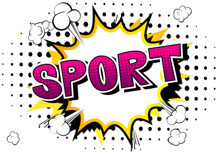 Sport - Comic book style word on abstract background. Standard-Bild - 104829109