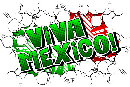 Vector illustrated banner, comic book greeting card with Viva Mexico text. Çizim