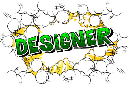 Designer - Comic book style word on abstract background.