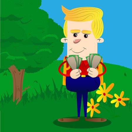 Schoolboy holding or showing money bills. Vector cartoon character illustration.