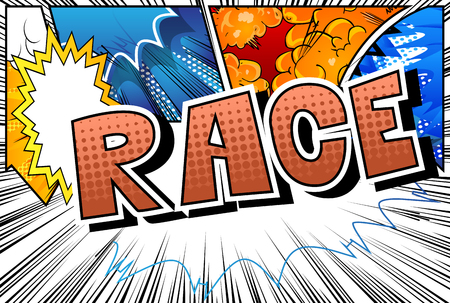 Race - Comic book style word on abstract background. Çizim