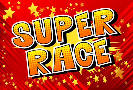 Super Race - Comic book style word on abstract background. Çizim