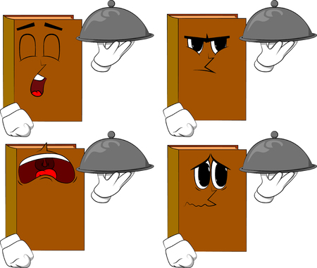 Books holding silver cloche in hand. Cartoon book collection with sad faces. Expressions vector set.